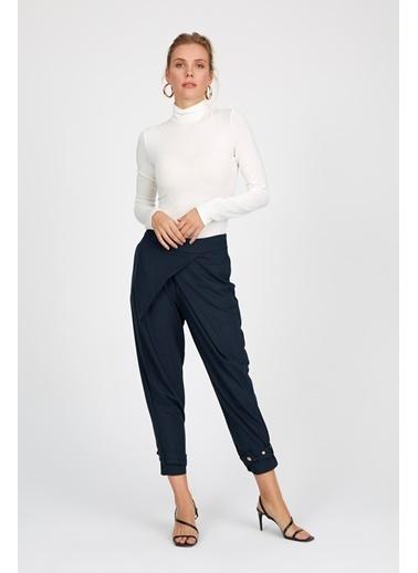 Setre Bordo Şalvar Kesim Paçası Şeritli Pantolon Mavi